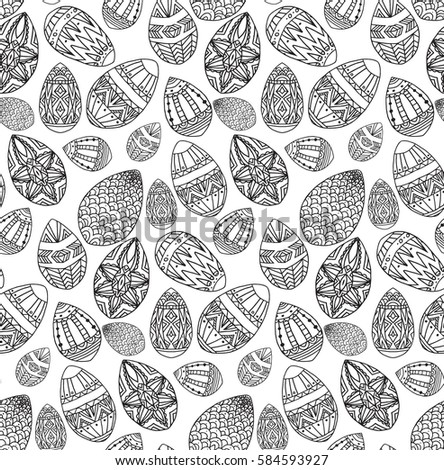 Seamless Black White Texture Contour Easter Stock Vector Royalty