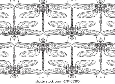 Seamless black and white texture with dragonfly illustration with boho pattern. Vector pattern for fabric, wallpaper, wrapping paper and your creativity
