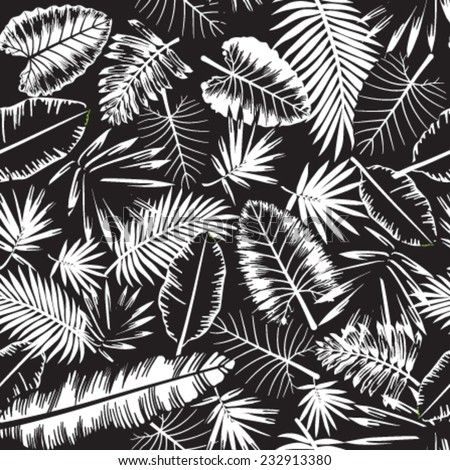 Seamless Black White Tropical Jungle Pattern Stock Vector Royalty