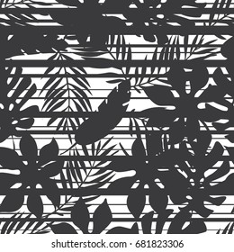 Seamless black and white various tropical leaves with horizontal glitch stripes pattern vector
