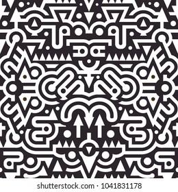 Seamless Black and White Vector Pattern in Techno Tribal Style. Mix of Stripes and Triangles