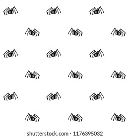 Seamless black and white vector pattern with spiders. Seamless background for halloween. Good for packaging design, halloween packaging paper, thematical background