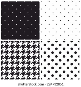 Seamless black and white vector pattern or tile background set with big and small polka dots and houndstooth tartan.