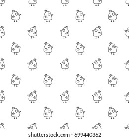 Seamless black and white vector pattern made with hand drawn chicken in doodle style