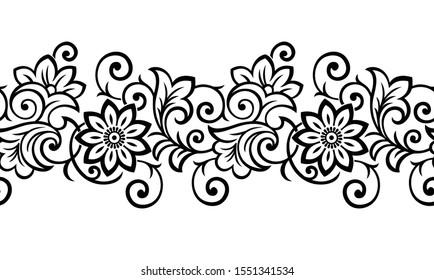 Seamless black and white vintage flower border