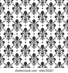 Seamless black and white vintage ornate French royal Fleur de lis pattern vector