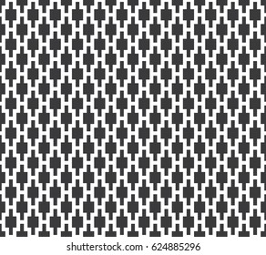 Seamless black and white vintage pixel ogee textile geo pattern vector