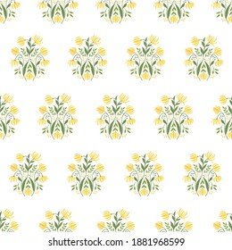 Seamless Block Print Pattern with Ylang-Ylang Flowers, Buds, Branches and Leaves.