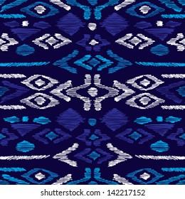 Seamless blue aqua aztec vintage folklore background pattern in vector