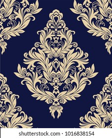 Seamless blue background with beige pattern in baroque style. Vector retro illustration. Ideal for printing on fabric or paper. Royal victorian seamless texture for wallpapers, textile, wrapping.