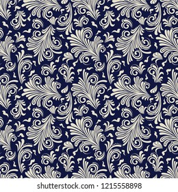 Seamless blue background with beige pattern in baroque style. Vector retro illustration. Ideal for printing on fabric or paper for wallpapers, textile, wrapping.