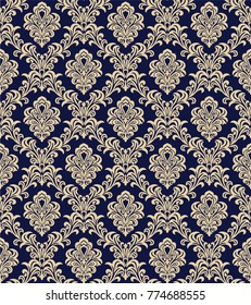 Seamless blue background with beige pattern in baroque style. Vector retro illustration. Ideal for printing on fabric or paper.