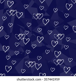 Seamless blue background with white hearts