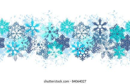 Seamless blue border with different snowflakes on white