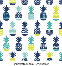 Seamless blue boy tropical pineapple summer fruit illustration background pattern in vector