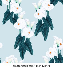 Seamless blue calla lilies flower background, elegant fashion colorful pattern with flowers. Light blue colors.