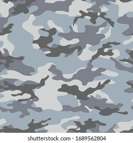 Seamless blue camouflage military texture. Print Stylish background. Modern. Ornament.