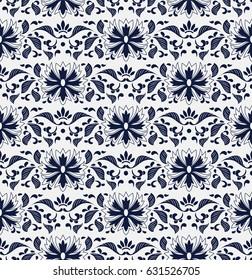 Seamless Blue Chinese Background botanic garden nature leaf flower chintz