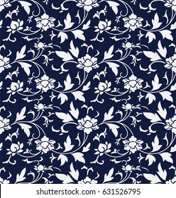 Seamless Blue Chinese Background retro botanic garden flower vine