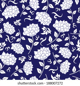 Seamless blue chinese pattern. Vector background