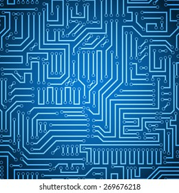 Seamless blue and dark blue electronic plate pattern vector. Circuit board vector illustration. Futuristic background. Electrical scheme. Technology seamless background with pattern in swatches