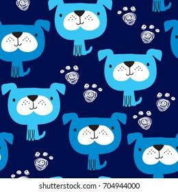 seamless blue dog pattern vector illustration