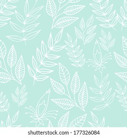 Seamless blue floral background in outlines