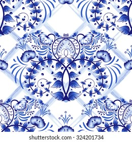 Seamless blue floral pattern with lattice strips of watercolor. Imitation of painting on porcelain in the Russian style Gzhel or Chinese painting.  Vector illustration.