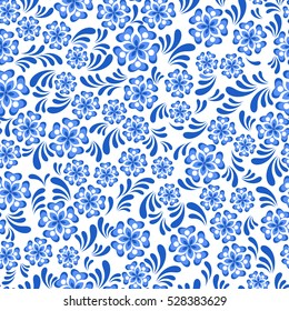 Seamless blue floral pattern painting in Russian gzel style