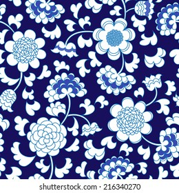 seamless blue floral porcelain china background