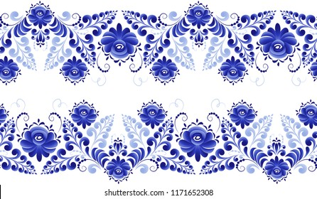 Seamless blue flower strip of traditional pattern made in the technique of Russian folk art Gzhel