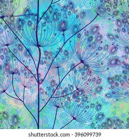 Seamless blue flowers pattern. Vector background, EPS10.