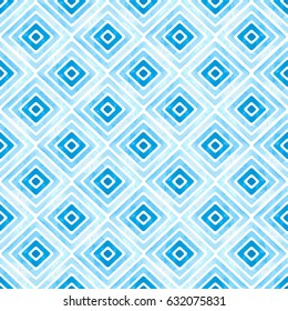 Seamless blue geometric pattern. Watercolor vector rhombus texture. Vintage ethnic striped background for textile design.