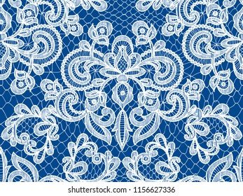 Seamless blue lace background with floral pattern