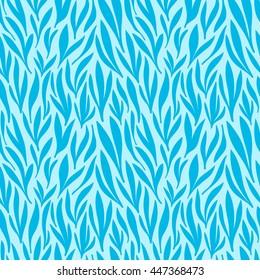 Seamless blue leaf pattern background. Vector nature illustration.