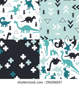Seamless blue and mint kids geometric dino triangles and dinosaur plus sign cross illustration background collection pattern in vector