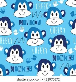 seamless blue monkey pattern vector illustration