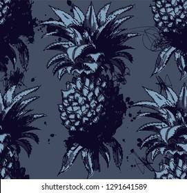 Seamless Blue Pineapple Pattern