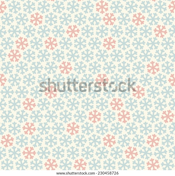 seamless blue and red colored snowflake background