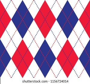 Seamless blue red and white argyle classic textile diamonds pattern vector