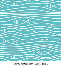 Seamless blue simple pattern with simple fishes and waves. Vector simple marine background. Eps-8