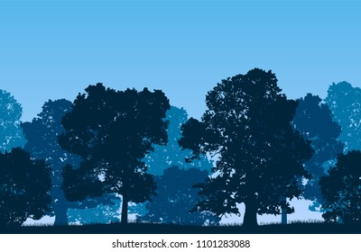 Seamless blue vector forest landscape with deciduous trees and grassy land.