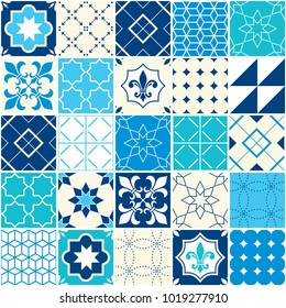 Seamless blue vector tile pattern, Azulejos tiles, Portuguese geometric and floral design - colorful patchwork. Ornamental tile background, background inspired by Spanish and Portuguese tiles