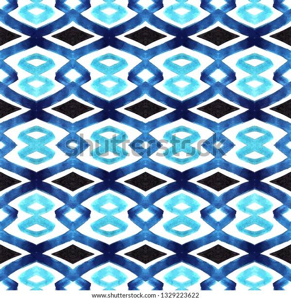 Seamless blue watercolor geometric pattern