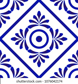 seamless blue and white pattern for design, porcelain, chinaware, ceramic, tile, ceiling, texture vector illustration