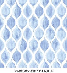 Seamless blue and white vintage ogee watercolor pattern vector