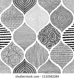 Seamless bohemian print. Ornament in patchwork style. Handmade. Vector illustration.
