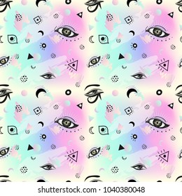 Seamless boho pattern with eyes. Minimalism and 80s style. Memphis background. Pastel goth motifs.