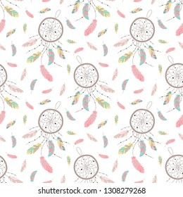 Seamless boho pattern. Vector image on national American motifs. Hand-drawn Illustration of dreamcatcher with feathers and beads. For print, background, textile, wrapping paper, holiday, birthday