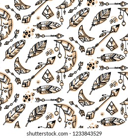 Seamless boho style pattern. Bohemian background with tribal and boho objects and elements. Boho moon, tribal arrow, wild feather. Background with natural colours. Ethnic seamless pattern